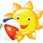 Smiling sun holding a beach ball